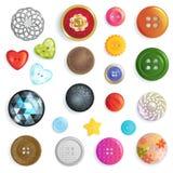 缝合的按钮传染媒介时尚设计衣物辅助部件裁缝汇集例证套五颜六色的孩子塑料布料 向量例证