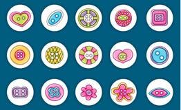 缝合的按钮手工制造工艺象概念 动画片乱画贴纸设计 皇族释放例证