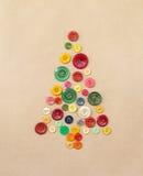 从缝合的按钮的圣诞树 免版税图库摄影