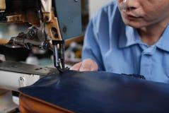 缝合的皮革材料 库存照片