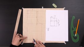 缝合的车间 裁缝工作场所:剪刀、铅笔、剪影和测量的磁带 影视素材
