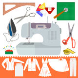 缝合的项目的汇集与衣裳Sihiouette的 免版税库存照片