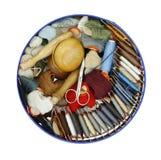 缝合-织补的棉花 库存照片
