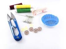 缝纫针buttom别针测量的磁带 库存图片