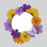 缠绕与在黄色和紫色颜色的花 库存例证