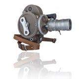 从缠绕边看见的老16mm电影摄影机 免版税库存照片