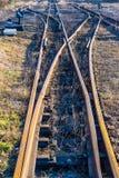缩小测量仪铁路副跟踪 库存照片