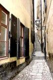 缩小的老斯德哥尔摩街道 图库摄影