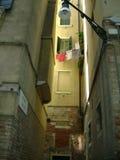 缩小的老街道城镇 图库摄影