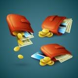 缩拢与金钱、信用卡和硬币 向量 库存照片