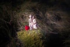 缩样妇女和一个人爱的坐心脏标志长凳与bokeh轻的copyspace,夫妇在爱和前婚礼 免版税库存照片