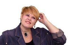 缺乏信心成熟妇女的肢体语言- 免版税图库摄影
