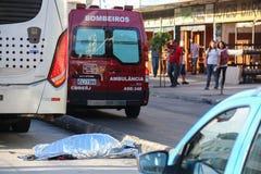 缺乏在交通,在巴西交通的原因死亡的教育 库存照片