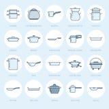 罐、平底锅和火轮平的线象 餐馆专业设备标志 厨房器物-铁锅,平底深锅 向量例证