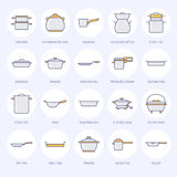 罐、平底锅和火轮平的线象 餐馆专业设备标志 厨房器物-铁锅,平底深锅 皇族释放例证