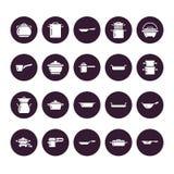罐、平底锅和火轮纵的沟纹象 餐馆专业设备标志 厨房器物-铁锅,平底深锅, eathernware 图库摄影