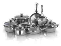 罐和平底锅 套烹调不锈钢厨房器物a 免版税库存图片