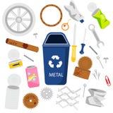 废物排序 金属垃圾 罐头、工具和其他垃圾象 向量例证