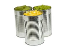 罐头三棵蔬菜 免版税库存照片