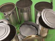 罐头关闭回收的金属  库存照片