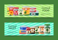 罐头横幅传染媒介例证 菜产品罐子容器金属包装 汤保存包裹能 皇族释放例证