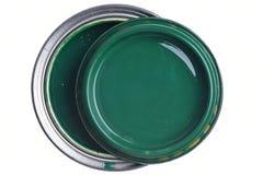 罐头绿色油漆顶视图 免版税库存照片