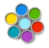 罐头颜色油漆罐子顶层 免版税库存照片