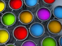 罐头颜色绘充满活力 图库摄影