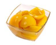 罐子桃子蜜饯 库存照片