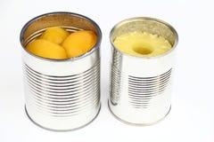 罐子用桃子和菠萝 免版税库存照片