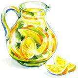 水罐柠檬水用薄菏。水彩绘画 库存例证