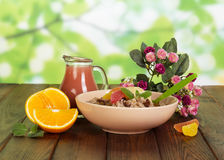 水罐汁液、碗燕麦粥和桔子在抽象绿色背景 库存图片