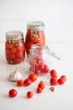 罐用卤汁泡的蕃茄 免版税库存照片