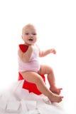 罐的婴孩,白色背景 免版税库存图片