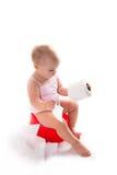罐的婴孩,白色背景 免版税库存照片