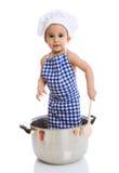 罐的滑稽的儿童厨师 免版税库存图片