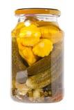 罐装灌木南瓜用黄瓜在银行中 免版税库存图片