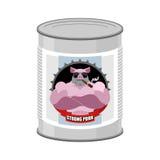 罐装猪肉 从一头严肃和强的猪的罐头 钢Ba 库存照片