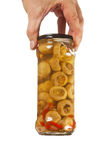 罐装瓶子蘑菇 免版税库存图片