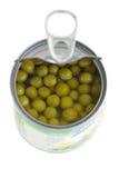 罐装绿色查出的豌豆 库存照片