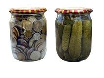 罐装货币 图库摄影
