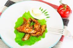 罐装鱼用在莴苣的鸡蛋 图库摄影