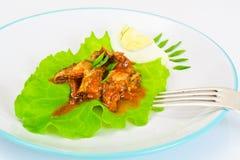 罐装鱼用在莴苣的鸡蛋 免版税库存照片