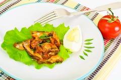 罐装鱼用在莴苣的鸡蛋 库存照片