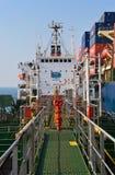 罐车Ostrov Russkiy在集装箱船现代公司的袭击地堡 不冻港海湾 东部(日本)海 19 04 2014年 库存图片