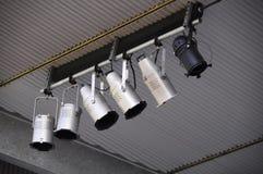 罐阶段天花板灯具 免版税库存图片