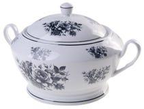 罐,在白色背景的陶瓷罐 免版税图库摄影