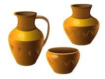罐 一套瓦器 花瓶,水罐,罐 与装饰品的种族陶瓷 瓦器 皇族释放例证