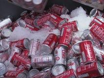 罐头可口可乐在布莱克浦 免版税库存图片