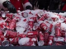 罐头可口可乐在布莱克浦 库存图片